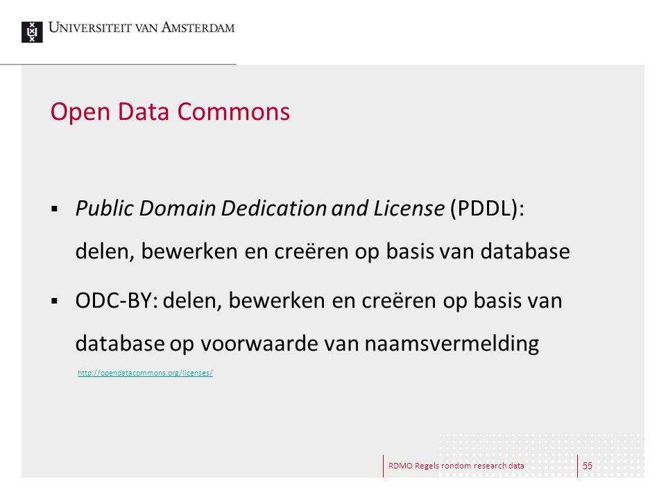 Open Data Commons Public Domain Dedication and License (PDDL): delen, bewerken en creëren op basis van database.
