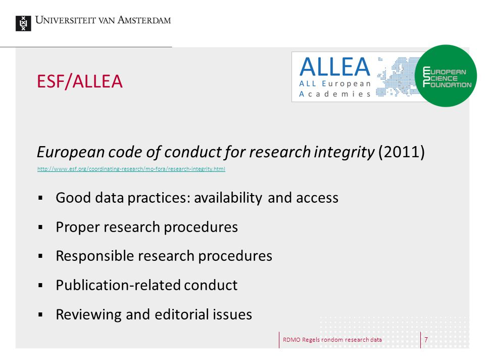 ESF/ALLEA European code of conduct for research integrity (2011)