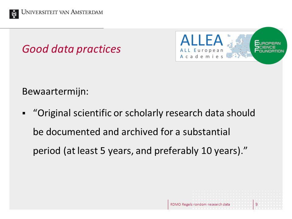 Good data practices Bewaartermijn: