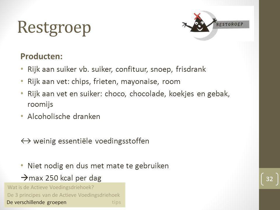 Restgroep Producten: Rijk aan suiker vb. suiker, confituur, snoep, frisdrank. Rijk aan vet: chips, frieten, mayonaise, room.