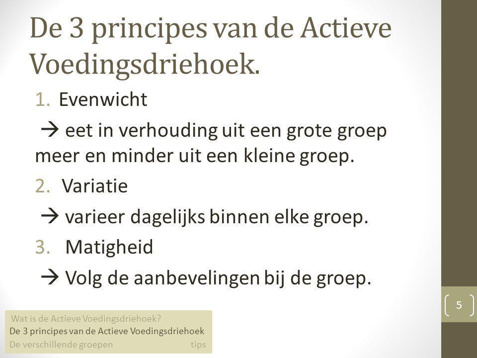 De 3 principes van de Actieve Voedingsdriehoek.