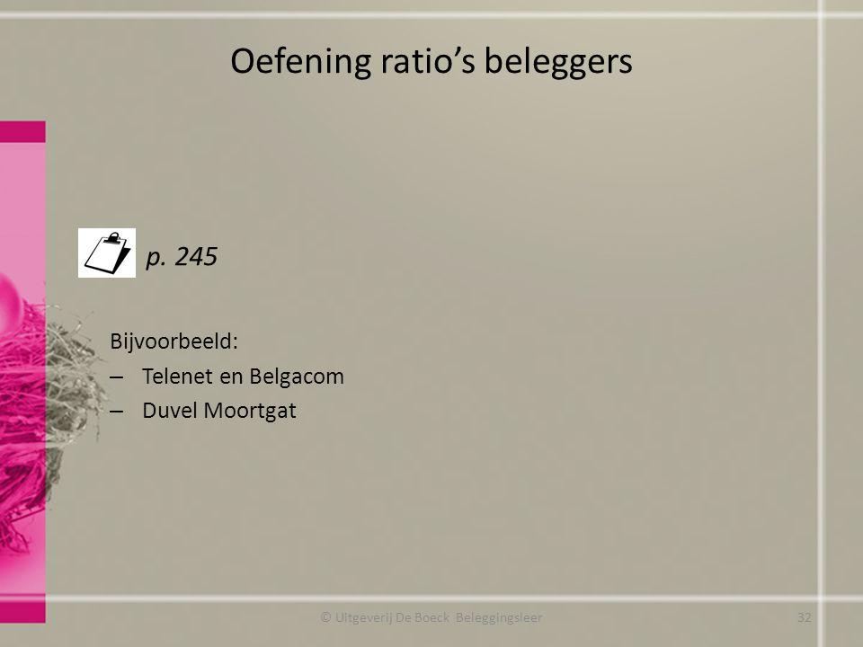Oefening ratio's beleggers
