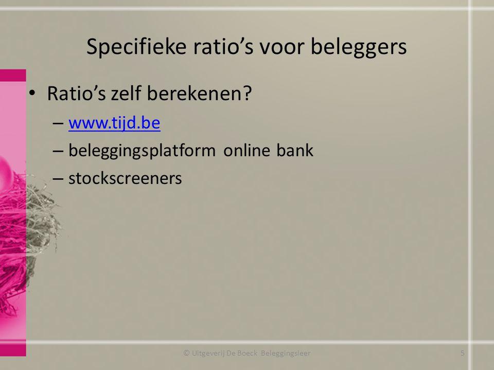 Specifieke ratio's voor beleggers