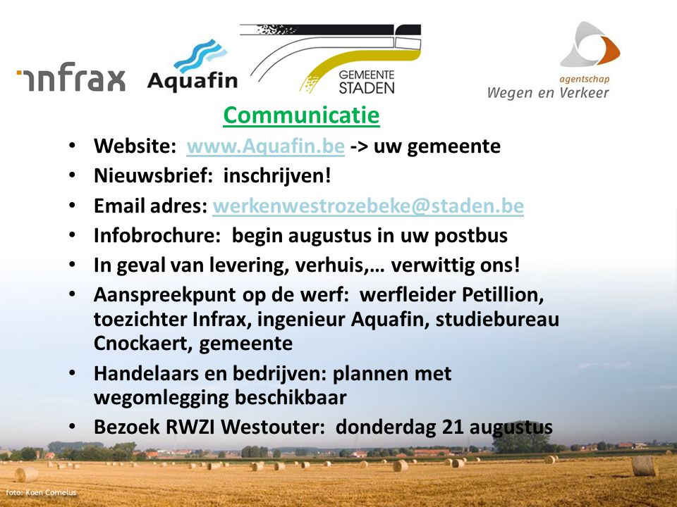Communicatie Website: www.Aquafin.be -> uw gemeente