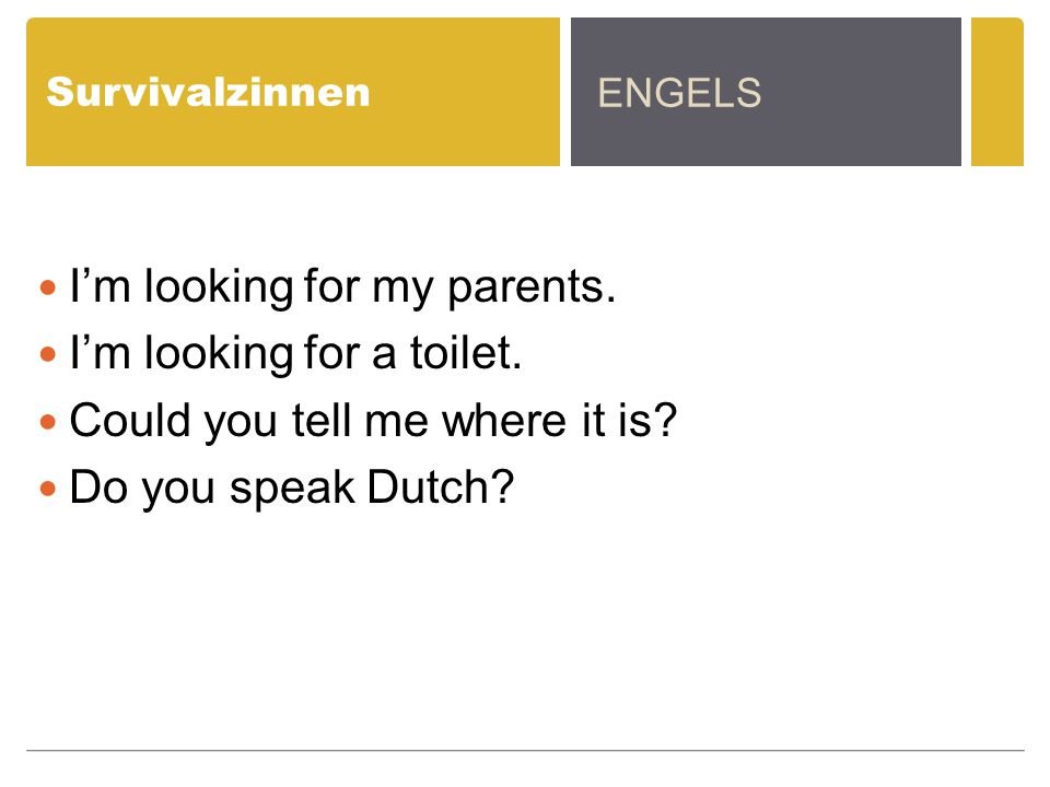 I'm looking for my parents. I'm looking for a toilet.