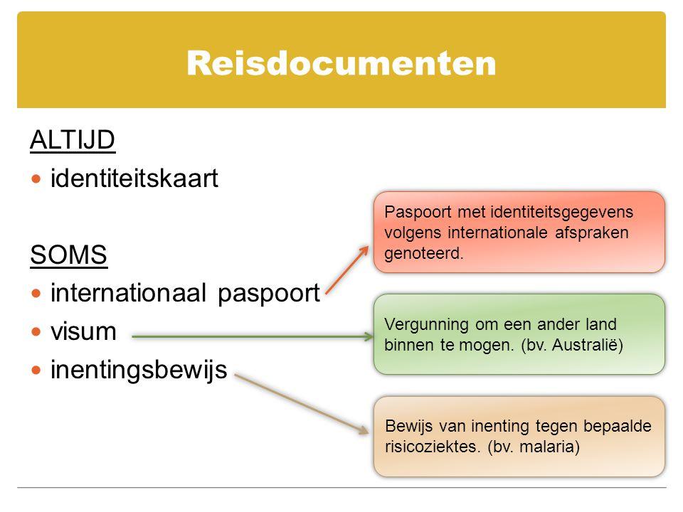 Reisdocumenten ALTIJD identiteitskaart SOMS internationaal paspoort