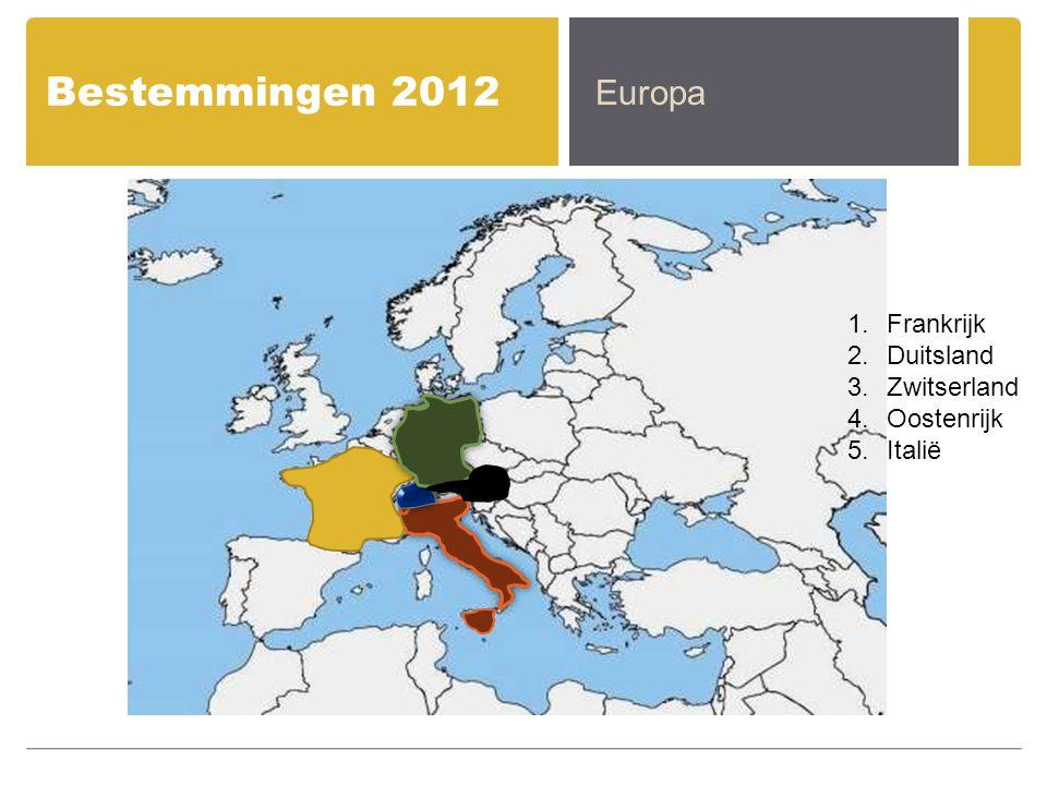 Bestemmingen 2012 Europa Frankrijk Duitsland Zwitserland Oostenrijk