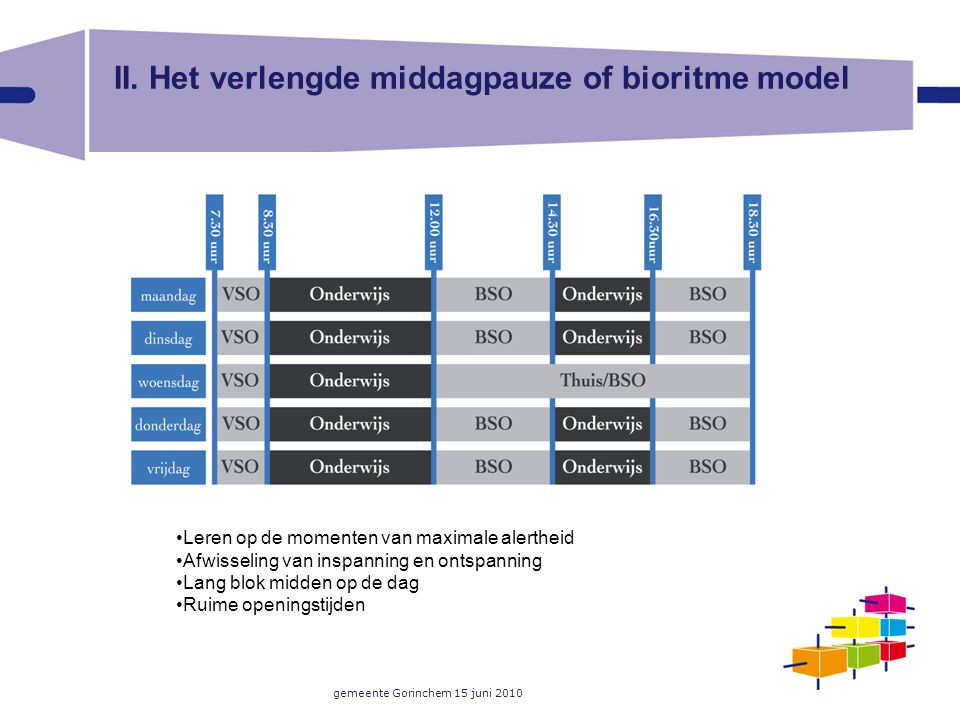 II. Het verlengde middagpauze of bioritme model