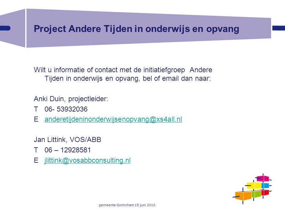 Project Andere Tijden in onderwijs en opvang