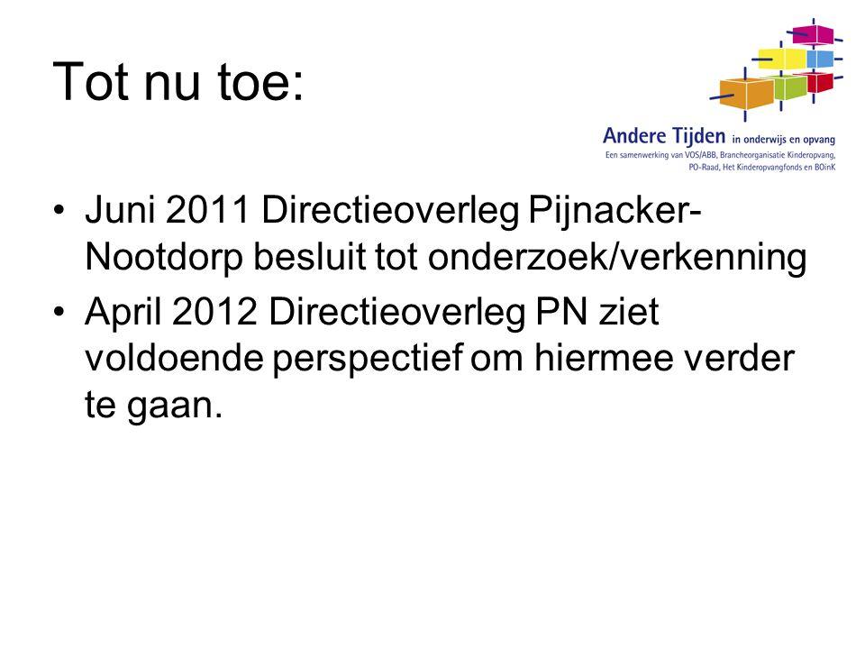 Tot nu toe: Juni 2011 Directieoverleg Pijnacker-Nootdorp besluit tot onderzoek/verkenning.