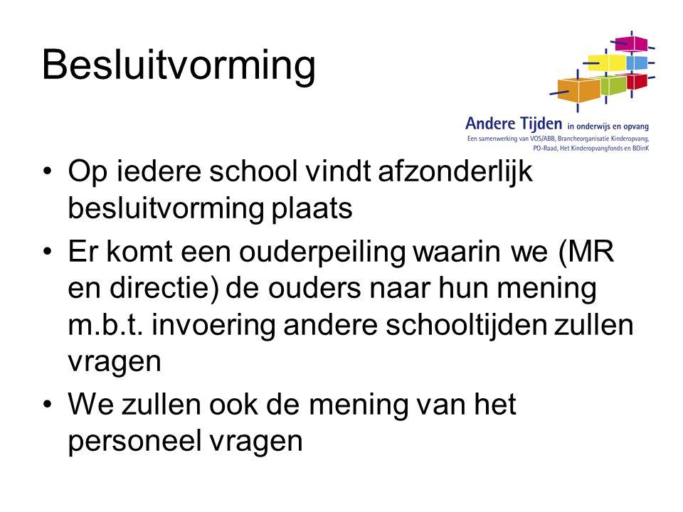 Besluitvorming Op iedere school vindt afzonderlijk besluitvorming plaats.