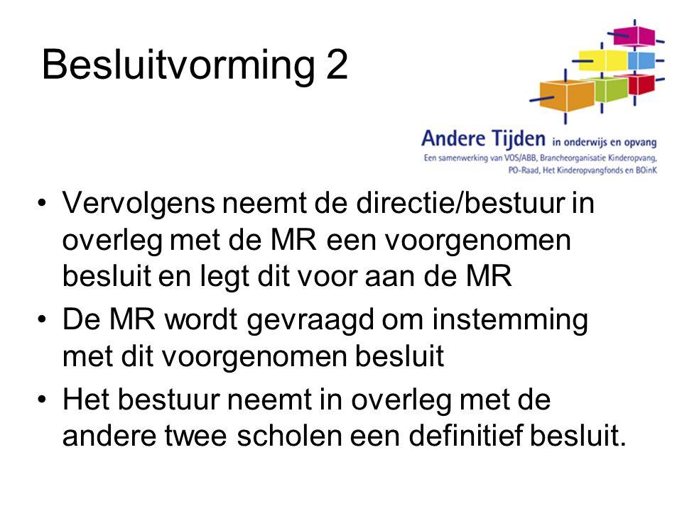 Besluitvorming 2 Vervolgens neemt de directie/bestuur in overleg met de MR een voorgenomen besluit en legt dit voor aan de MR.