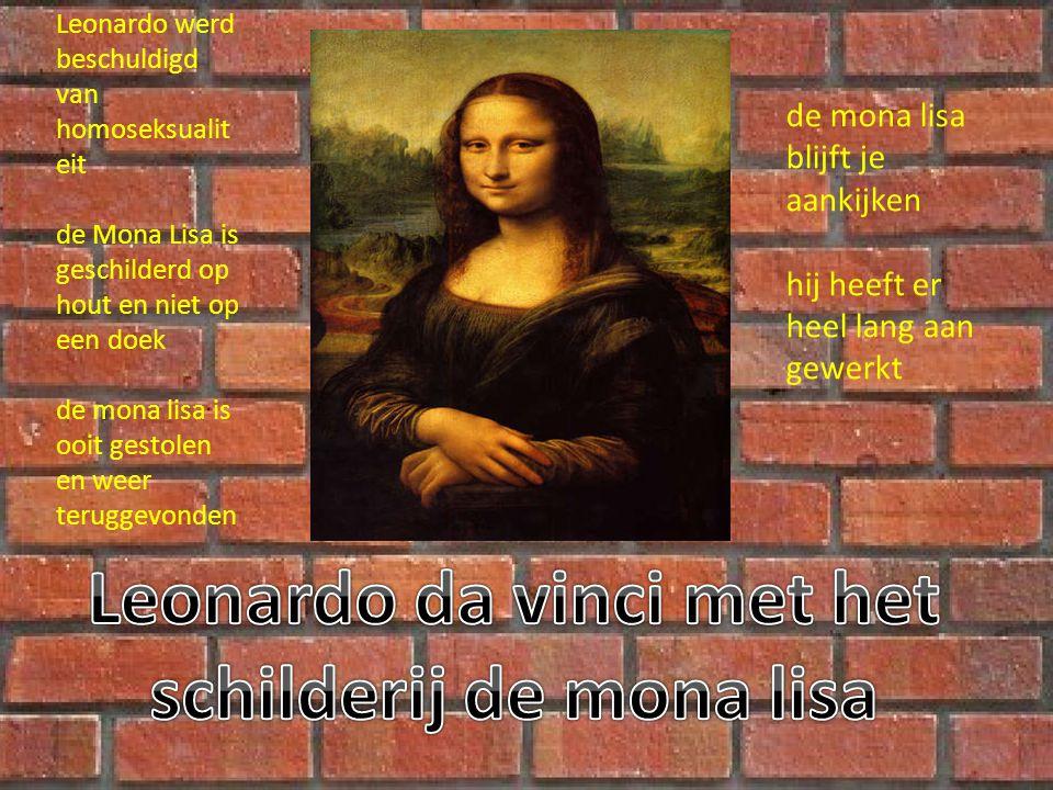 Leonardo da vinci met het schilderij de mona lisa