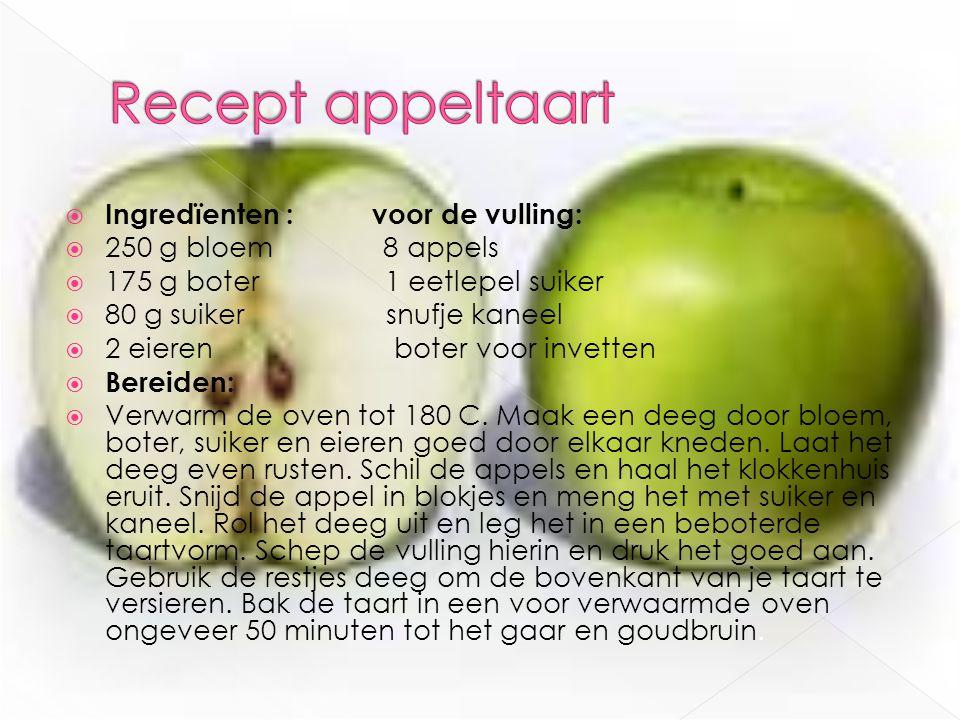 Recept appeltaart Ingredïenten : voor de vulling: 250 g bloem 8 appels
