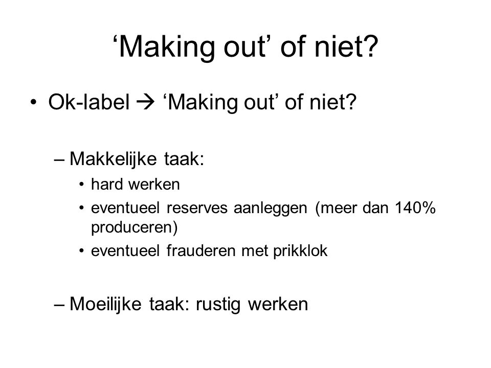 'Making out' of niet Ok-label  'Making out' of niet
