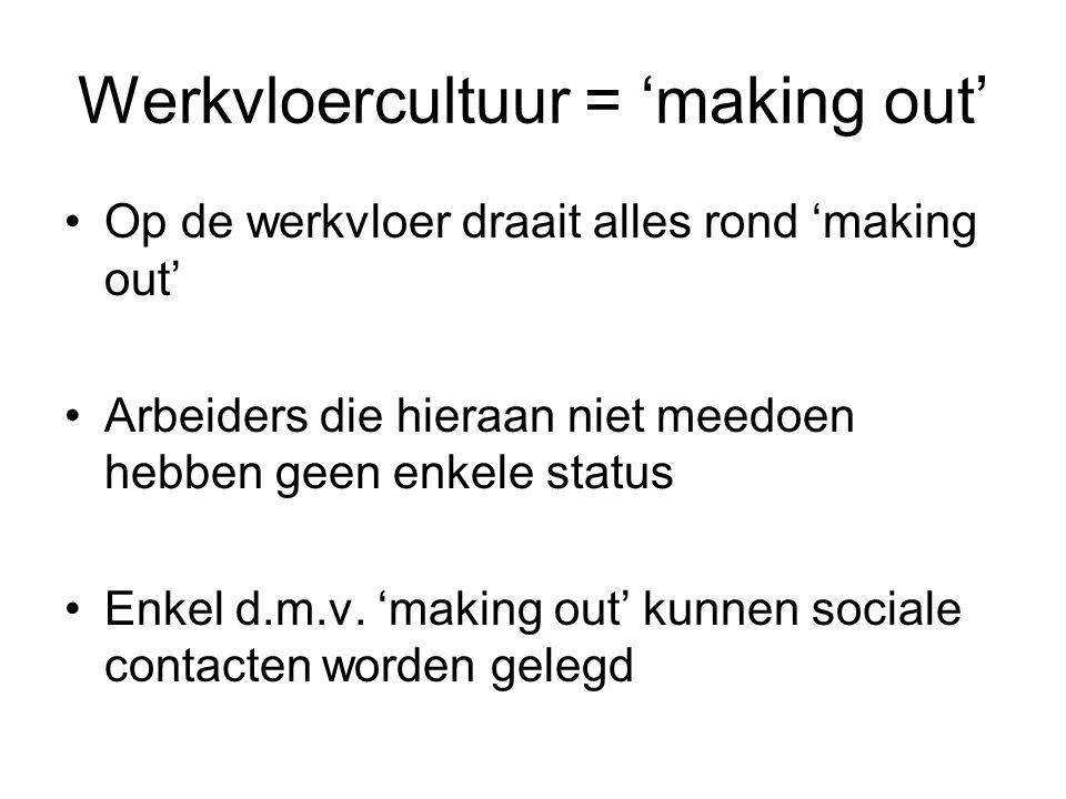 Werkvloercultuur = 'making out'