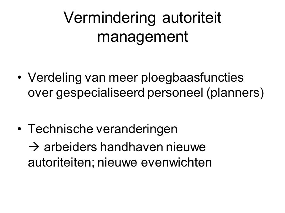 Vermindering autoriteit management