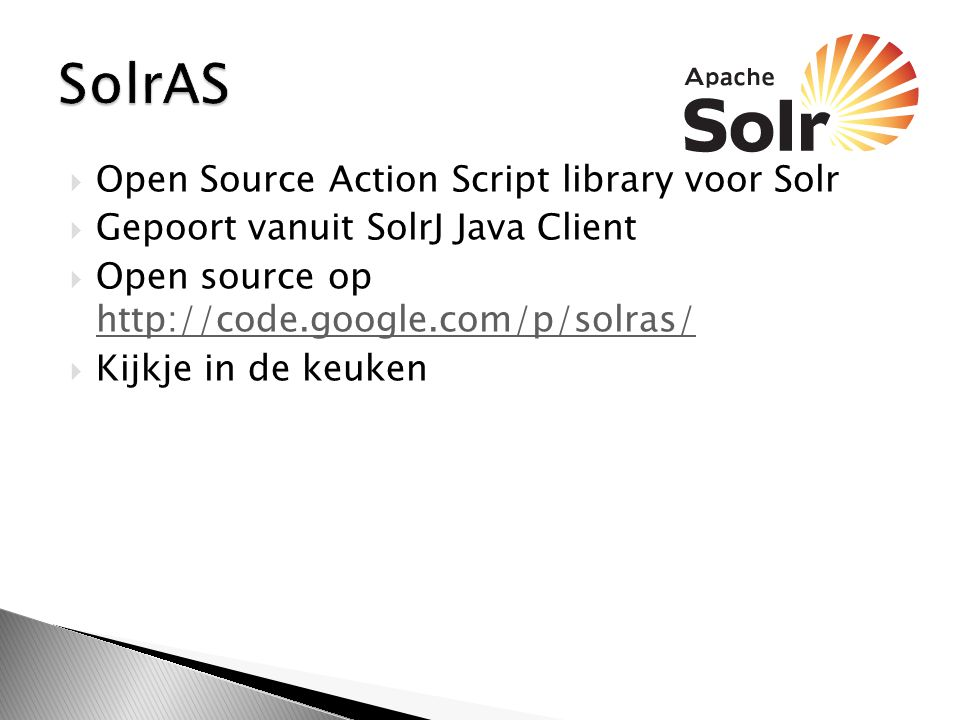 SolrAS Open Source Action Script library voor Solr