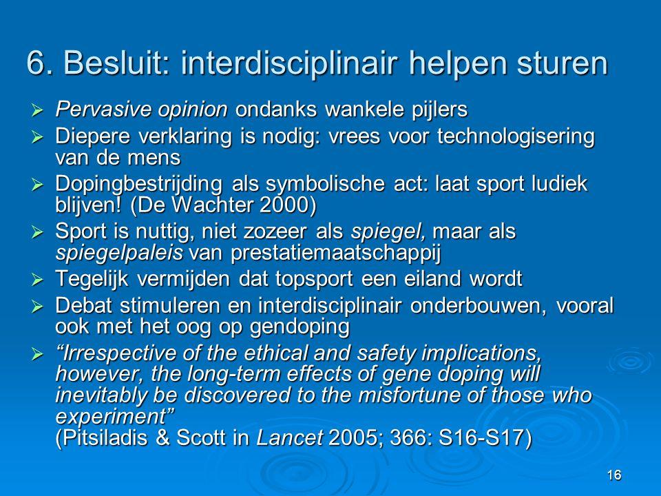 6. Besluit: interdisciplinair helpen sturen