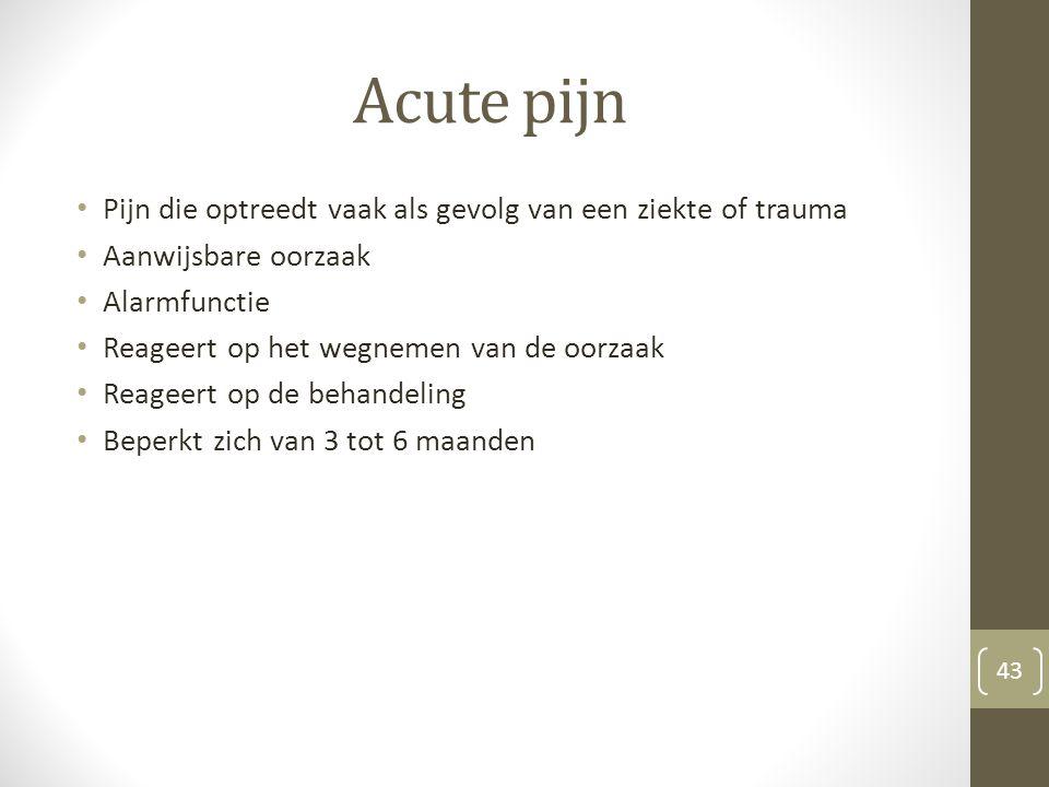 Acute pijn Pijn die optreedt vaak als gevolg van een ziekte of trauma