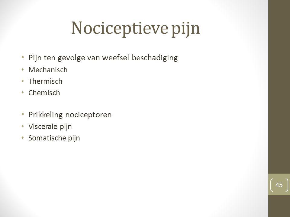 Nociceptieve pijn Pijn ten gevolge van weefsel beschadiging