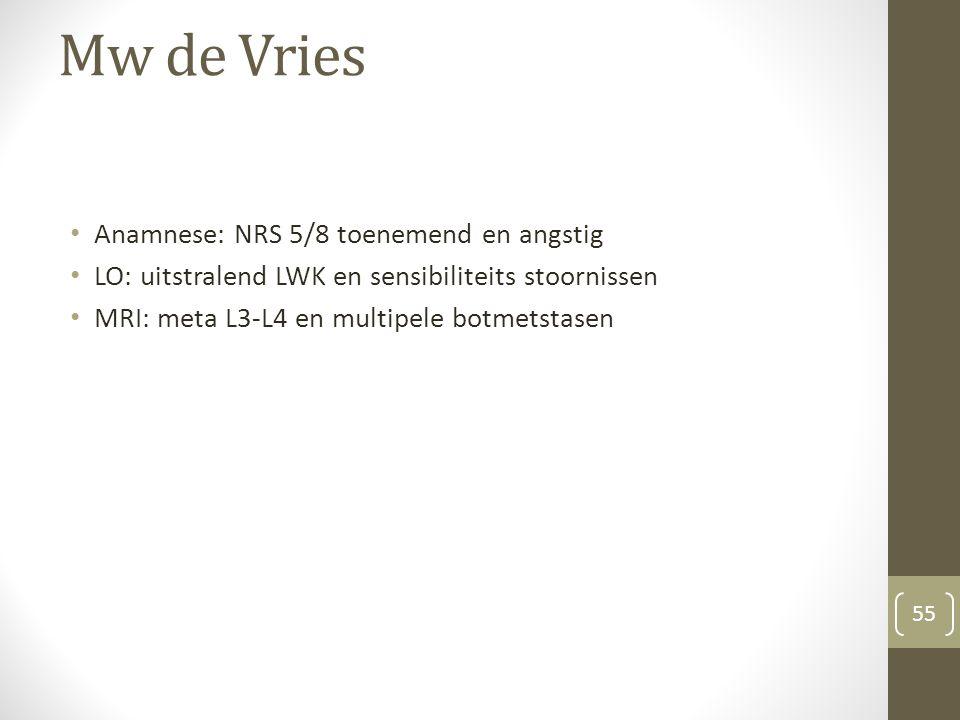 Mw de Vries Anamnese: NRS 5/8 toenemend en angstig