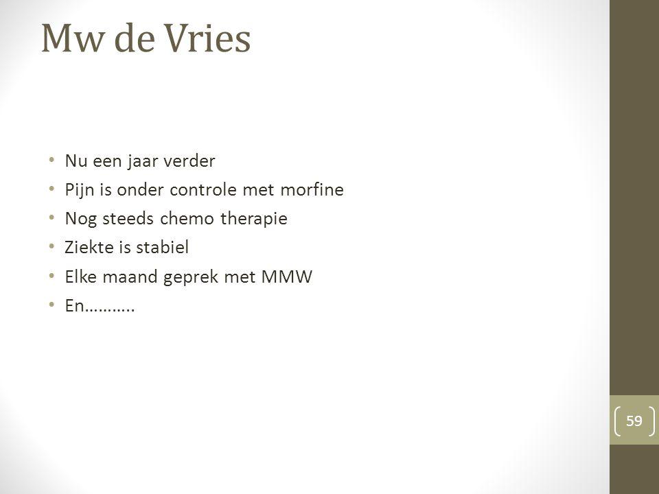 Mw de Vries Nu een jaar verder Pijn is onder controle met morfine