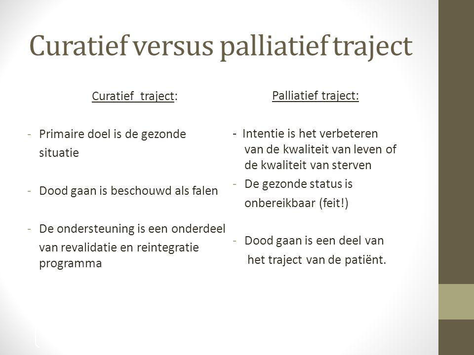 Curatief versus palliatief traject