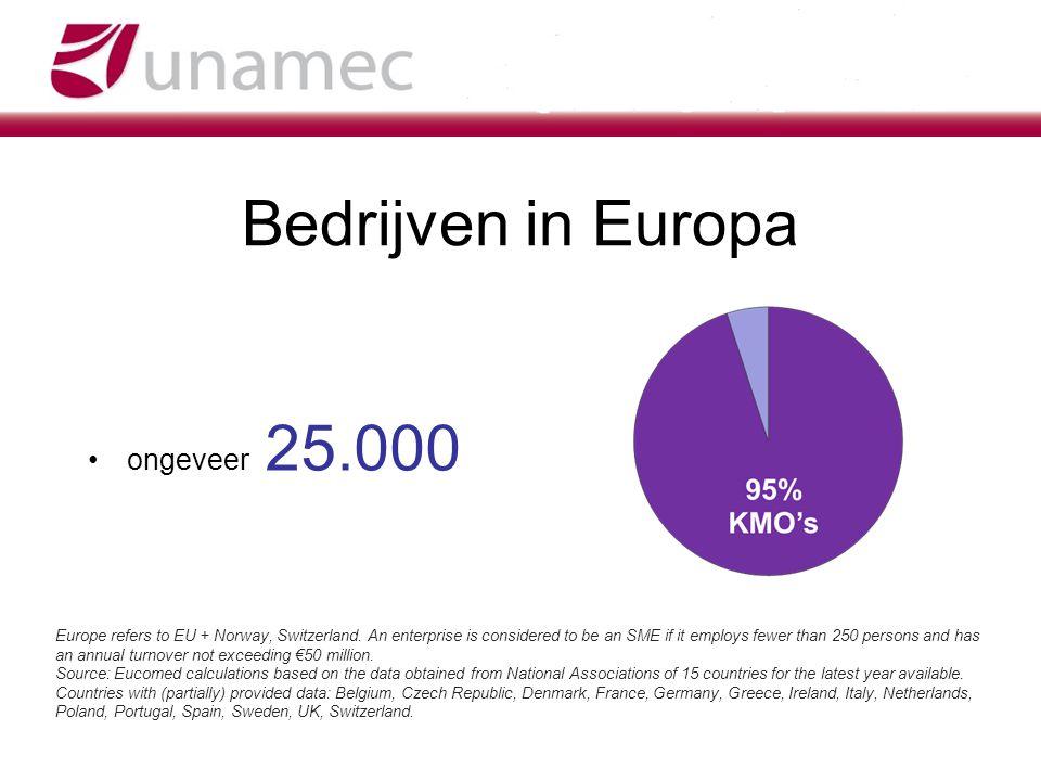Bedrijven in Europa ongeveer 25.000