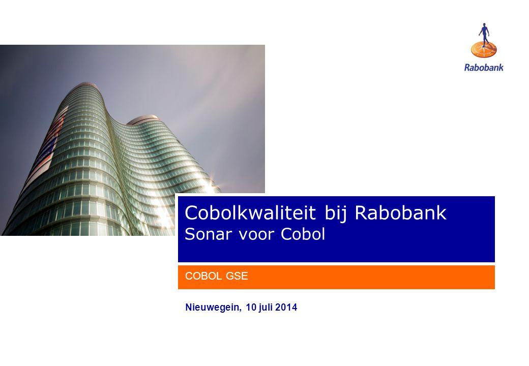 Cobolkwaliteit bij Rabobank Sonar voor Cobol