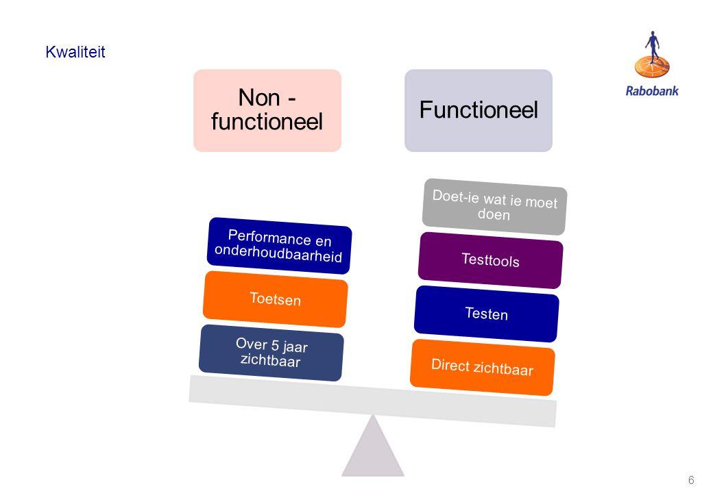 Non -functioneel Functioneel Kwaliteit Doet-ie wat ie moet doen