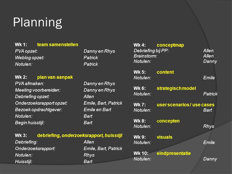 Planning Wk 1: team samenstellen Wk 4: conceptmap