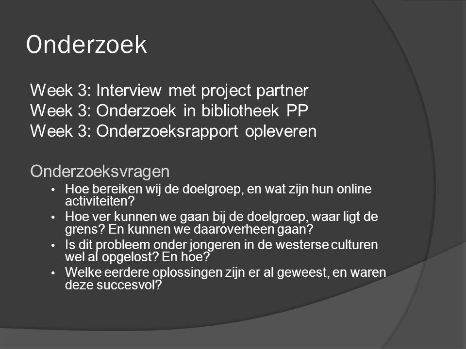 Onderzoek Week 3: Interview met project partner