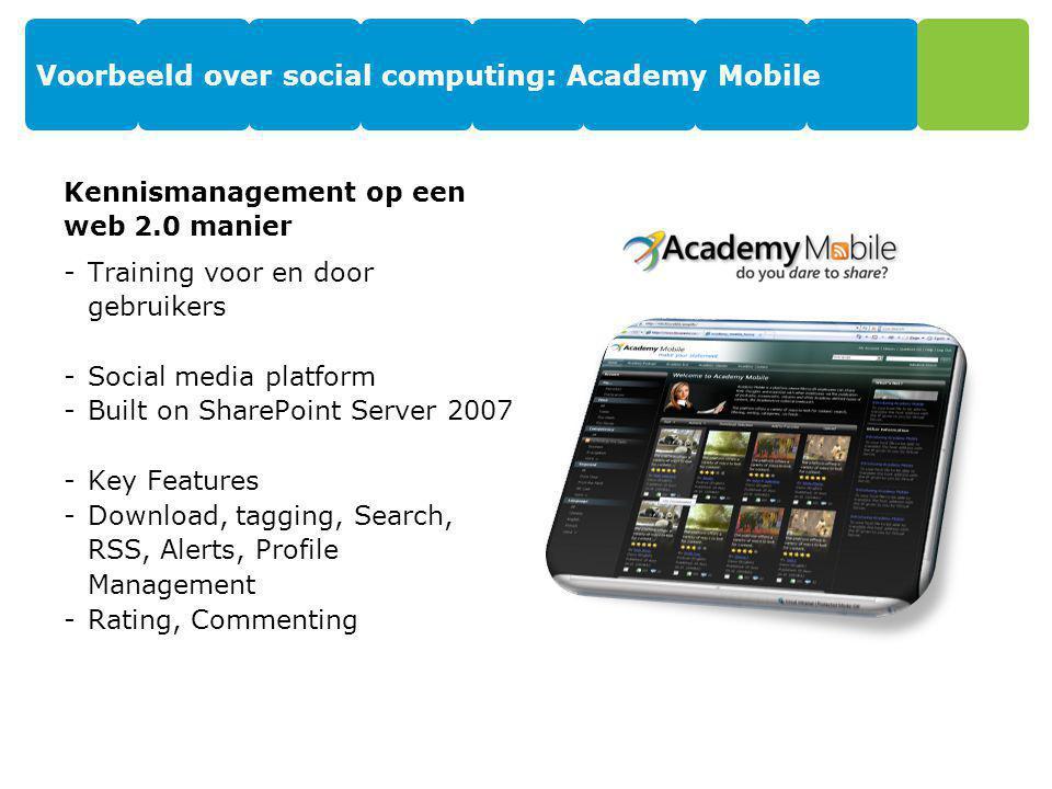 Voorbeeld over social computing: Academy Mobile