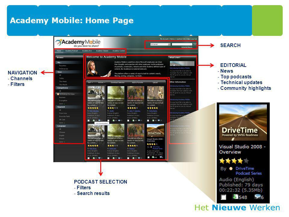 Academy Mobile: Home Page