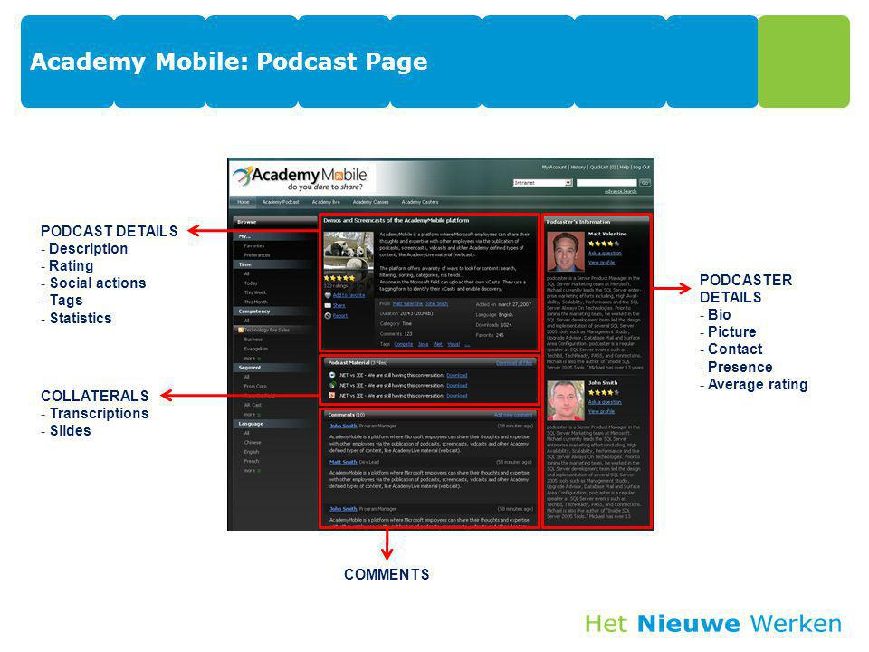 Academy Mobile: Podcast Page