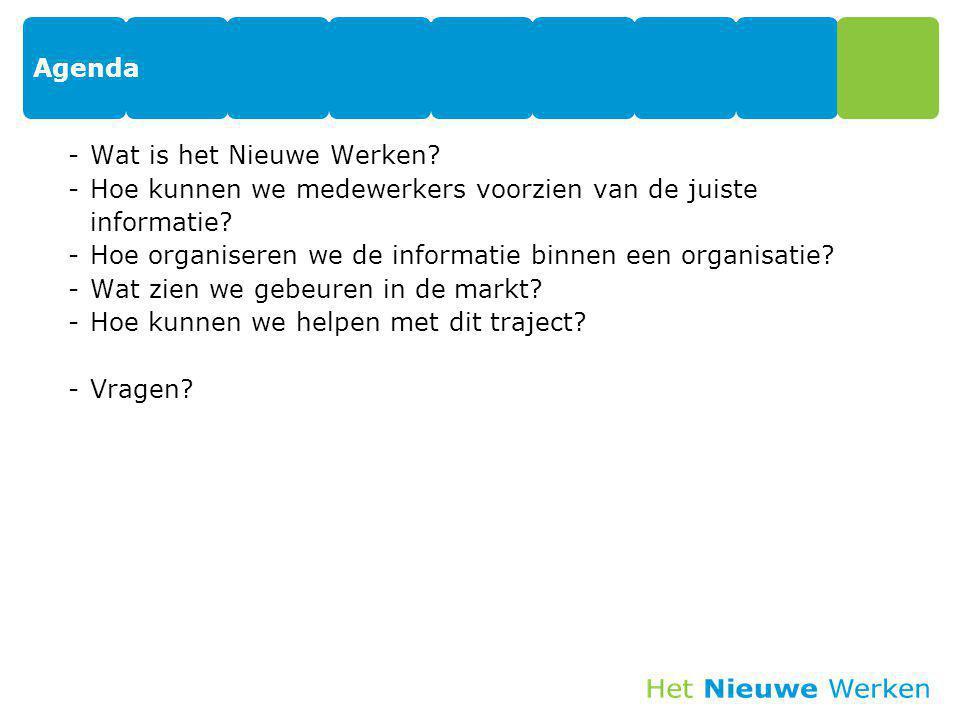 Agenda Wat is het Nieuwe Werken Hoe kunnen we medewerkers voorzien van de juiste informatie