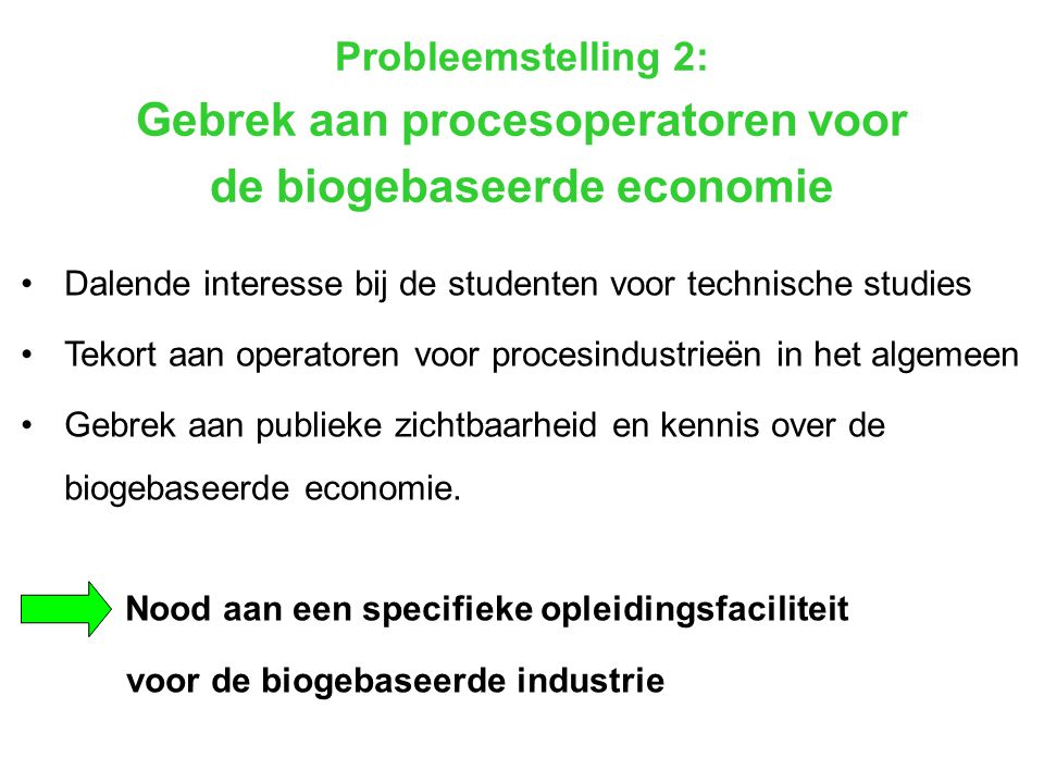 Gebrek aan procesoperatoren voor de biogebaseerde economie