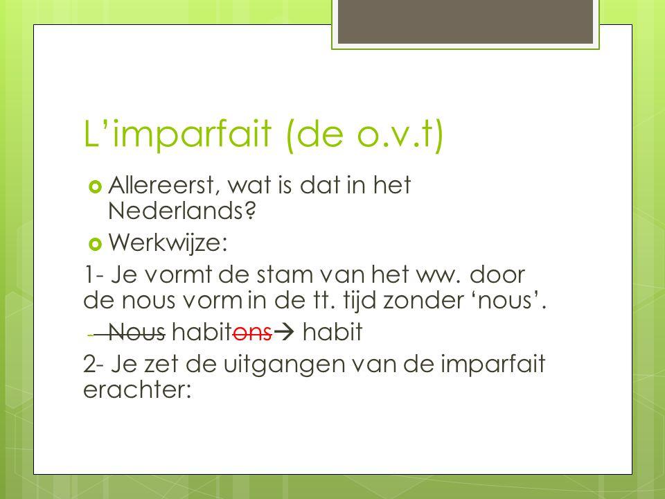 L'imparfait (de o.v.t) Allereerst, wat is dat in het Nederlands