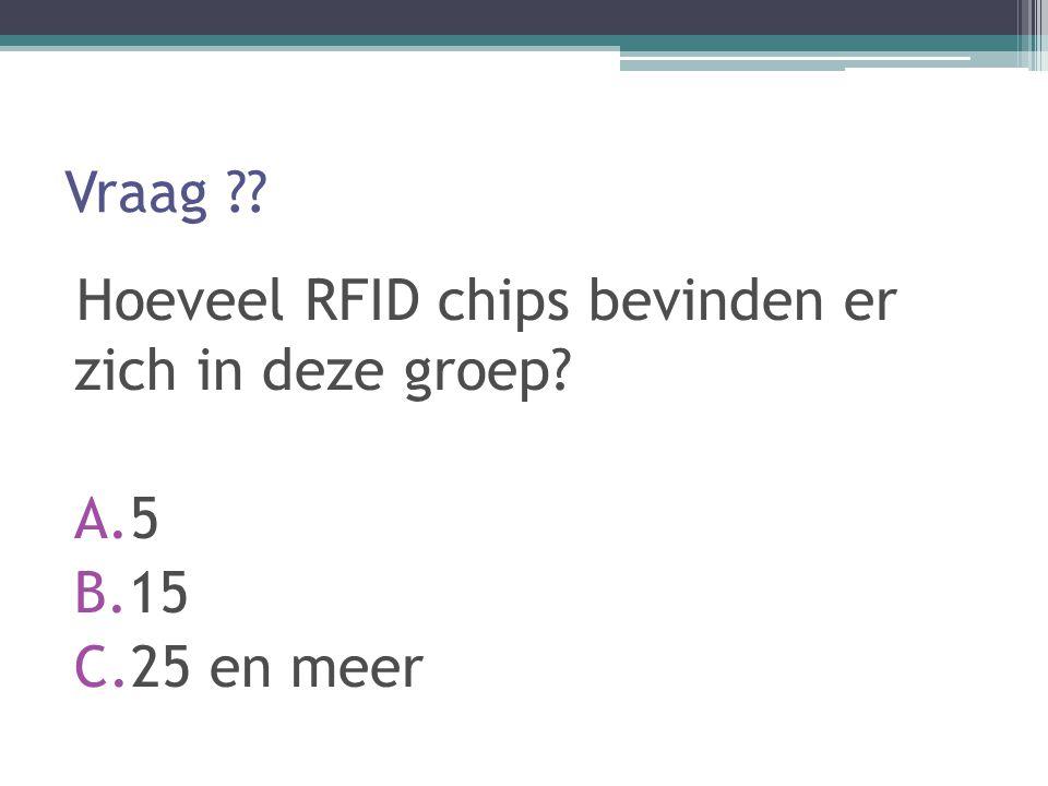 Vraag Hoeveel RFID chips bevinden er zich in deze groep 5 15 25 en meer