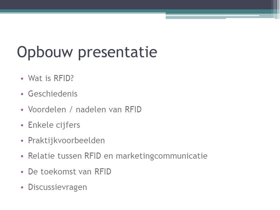 Opbouw presentatie Wat is RFID Geschiedenis