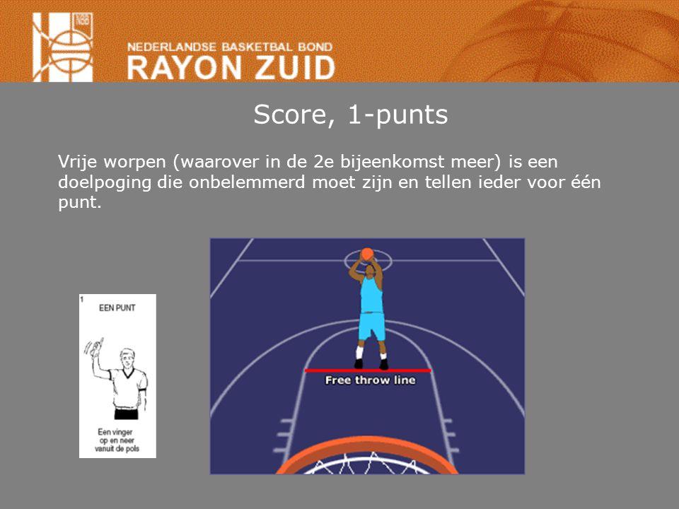 Score, 1-punts Vrije worpen (waarover in de 2e bijeenkomst meer) is een doelpoging die onbelemmerd moet zijn en tellen ieder voor één punt.