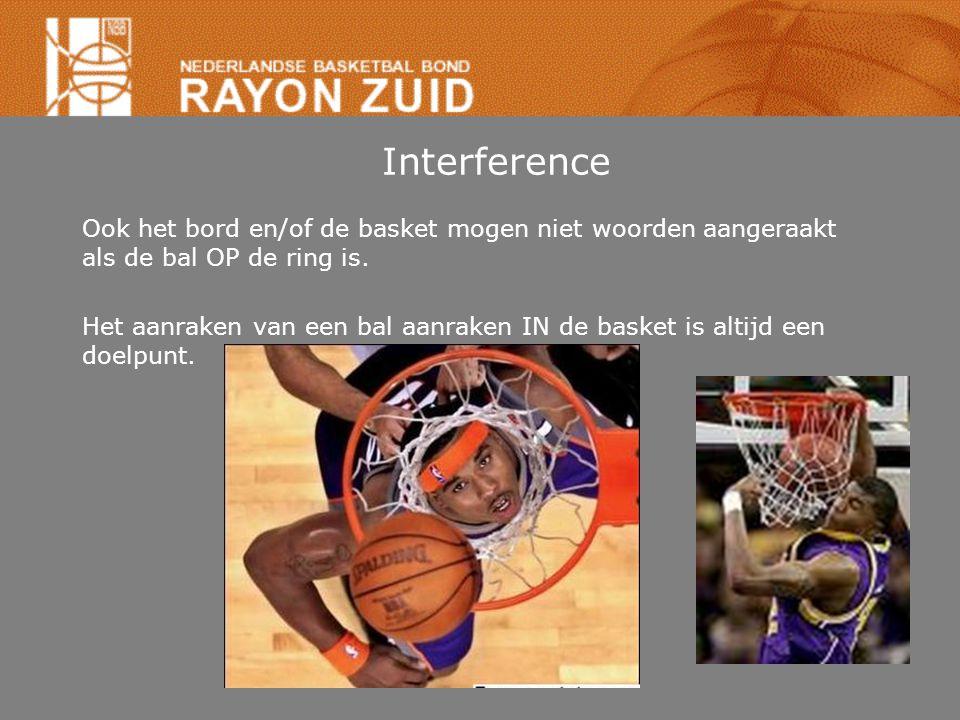 Interference Ook het bord en/of de basket mogen niet woorden aangeraakt als de bal OP de ring is.