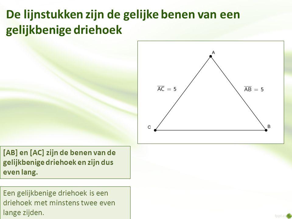 De lijnstukken zijn de gelijke benen van een gelijkbenige driehoek