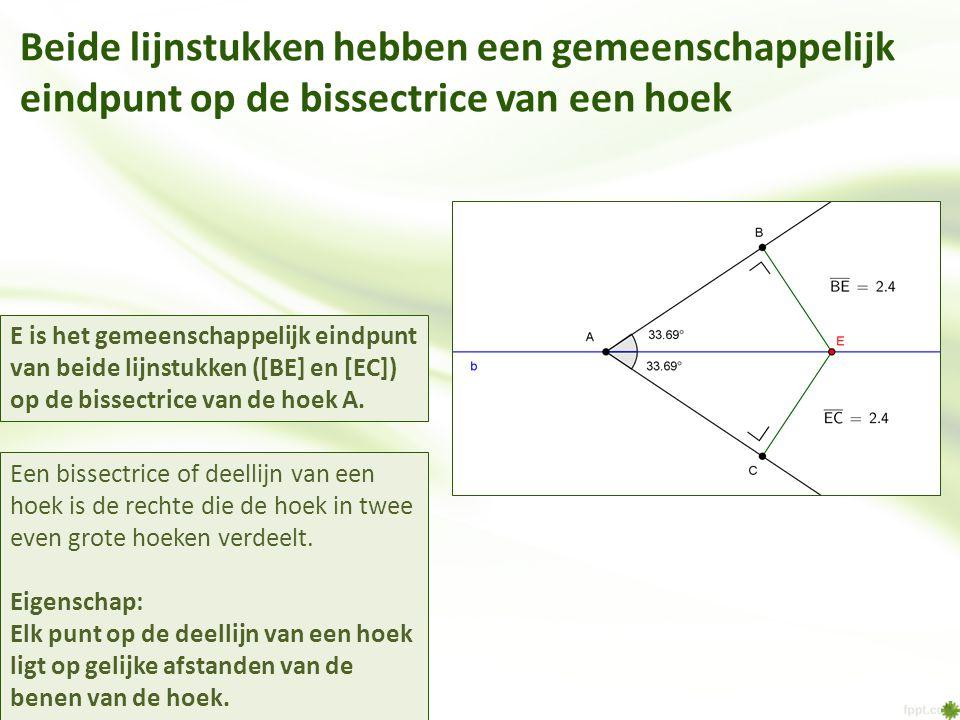 Beide lijnstukken hebben een gemeenschappelijk eindpunt op de bissectrice van een hoek