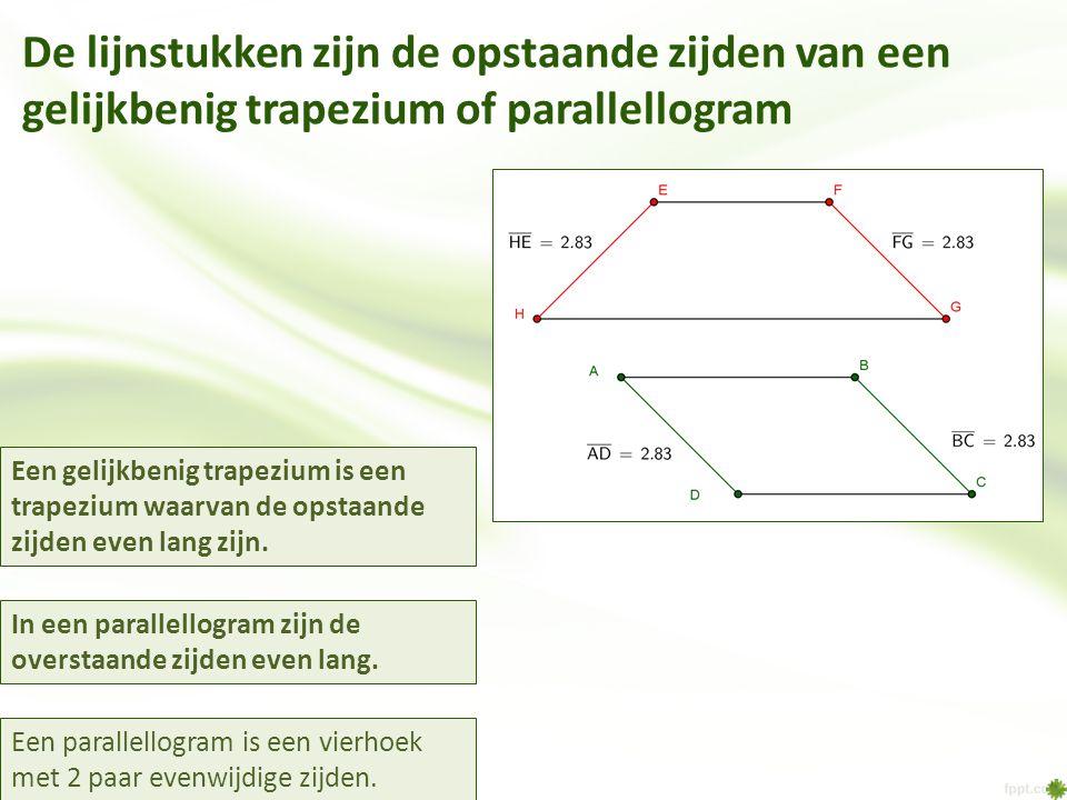 De lijnstukken zijn de opstaande zijden van een gelijkbenig trapezium of parallellogram