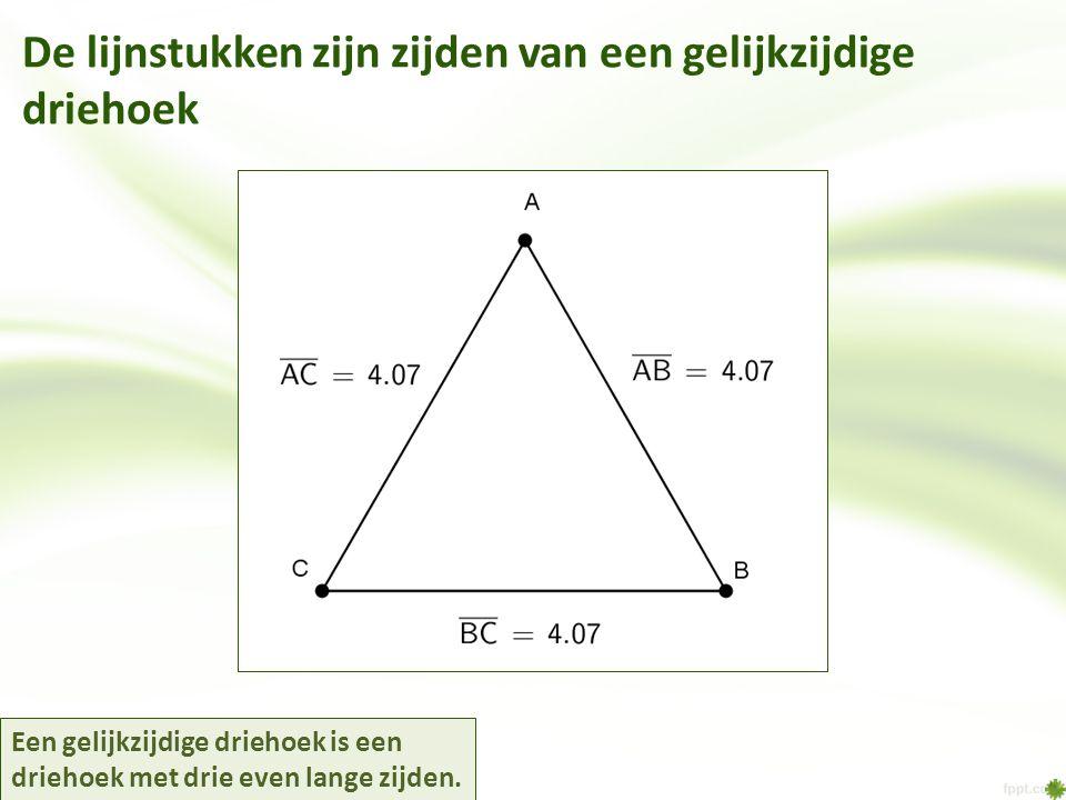 De lijnstukken zijn zijden van een gelijkzijdige driehoek