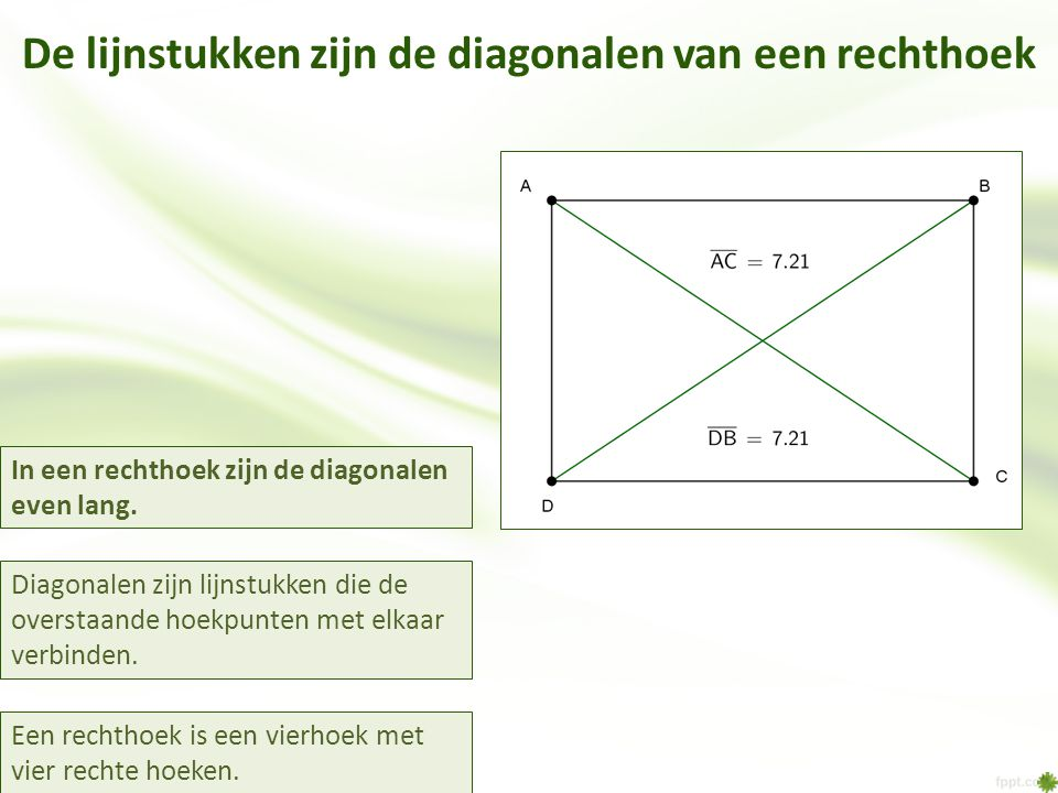 De lijnstukken zijn de diagonalen van een rechthoek