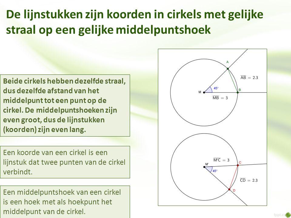 De lijnstukken zijn koorden in cirkels met gelijke straal op een gelijke middelpuntshoek