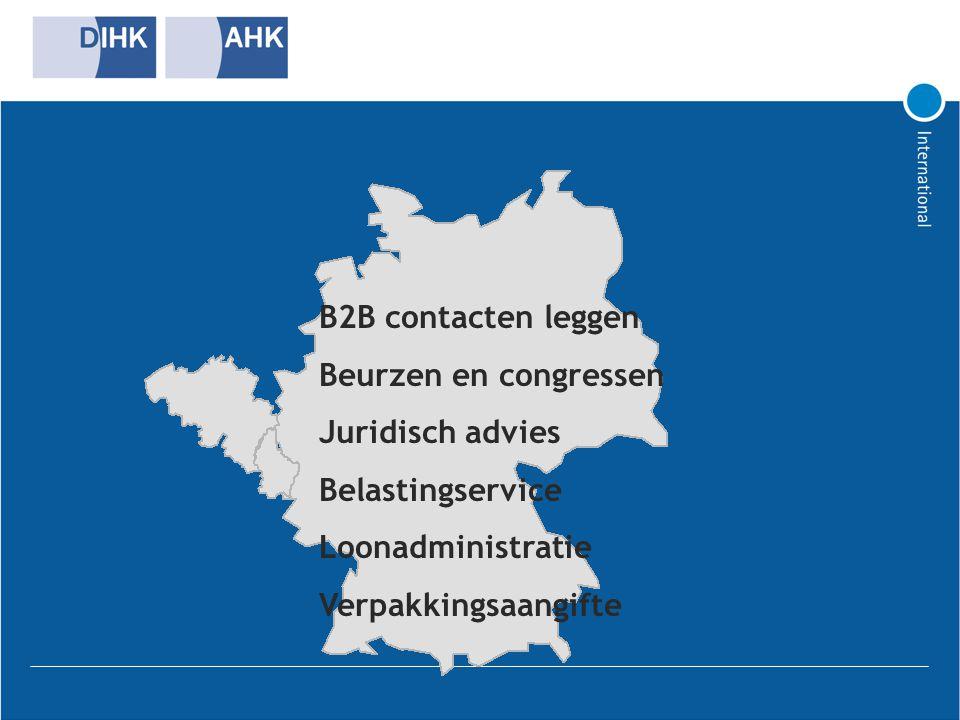 B2B contacten leggen Beurzen en congressen. Juridisch advies. Belastingservice. Loonadministratie.
